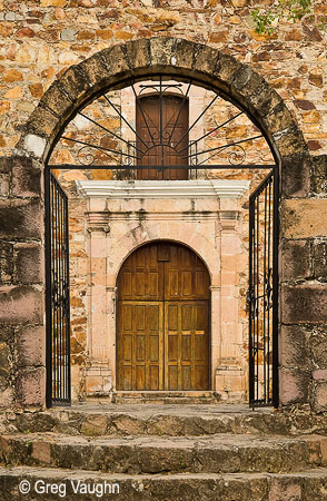 Entrance to Guadalupe Chapel, Cosala, Mexico.