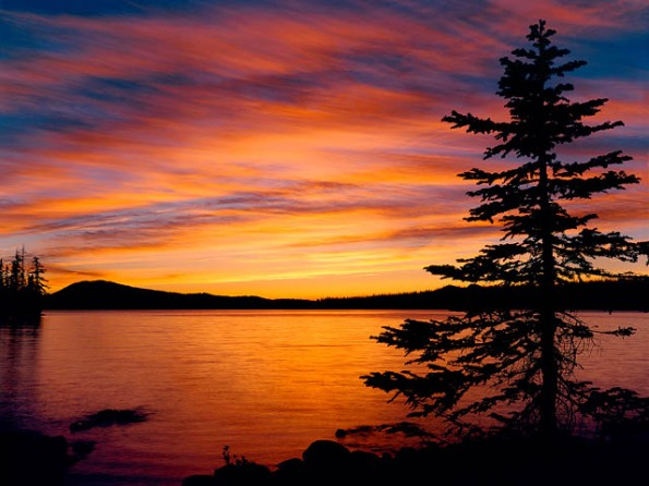 Waldo Lake sunset, Cascade Mountains, Oregon