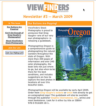 Viewfinders email featuring Photographing Oregon book