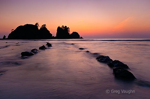 Point of Arches and Shi Shi Beach at dusk.