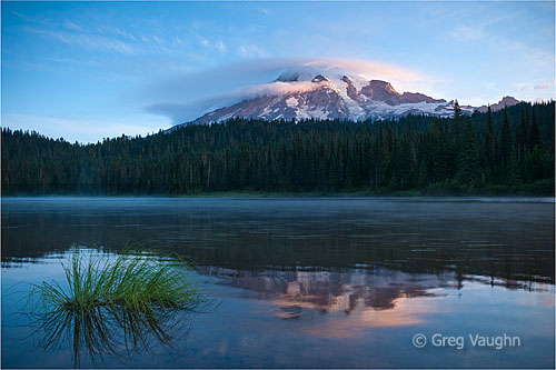 Mt. Rainier with lenticular cloud, from Reflection Lake.