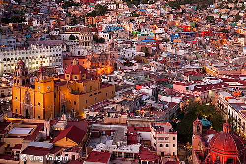 Guanajuato, Mexico historic district at sunset.