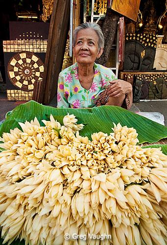 Flower vendor at Chatuchak Market in Bangkok