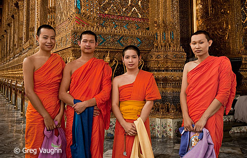 Buddhist monks at Wat Phra Kaew, Bangkok, Thailand
