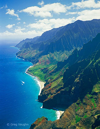 aerial view of the Na Pali Coast of Kauai