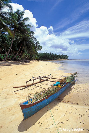 outrigger canoe on beach, Kosrae